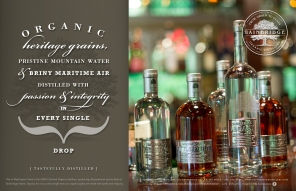 Typographic design for print advertising and posters for Bainbridge Organic Distillers, Bainbridge Island, Washington, USA, an ultra-premium US drinks brand | Concept, design & copywriting | Freelance client
